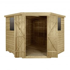 8x8 Forest Overlap Corner Shed - Door Open