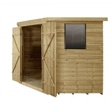 8x8 Forest Overlap Corner Shed - Side Elevation with doors open