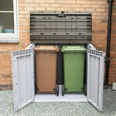 5ft x 3ft Forest 1200L Extra Large Plastic Garden Storage Unit & Bin Store (Grey) - side angle