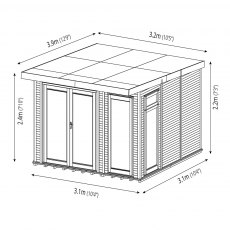 10 x 10 (3.10m x 3.10m) Mercia Insulated Garden Room - Dimension Drawing