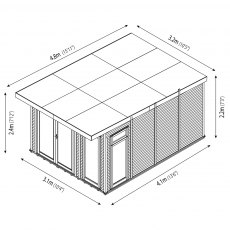 10 x 14 (3.10m x 4.10m) Mercia Insulated Garden Room - Dimension Drawing