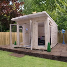 10 x 14 (3.10m x 4.10m) Mercia Insulated Garden Room - Angle View Open Doors