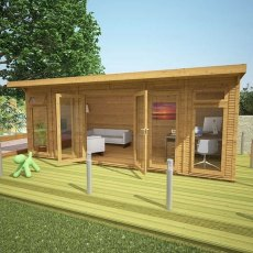 20 x 10 (6.10m x 3.10m) Mercia Insulated Garden Room - Angle View Open Doors