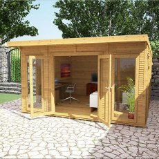 14 x 14 (4.10m x 4.10m) Mercia Insulated Garden Room - Angle View - Open Doors and treated
