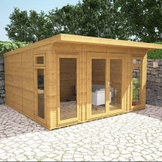 14 x 14 (4.10m x 4.10m) Mercia Insulated Garden Room - Angle View - Closed Doors and treated