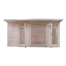 17 x 10 (5.10m x 3.10m) Mercia Insulated Garden Room - Front View - Open Doors