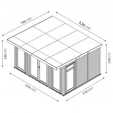 14 x 10 Mercia Insulated Garden Room - Dimension Drawing