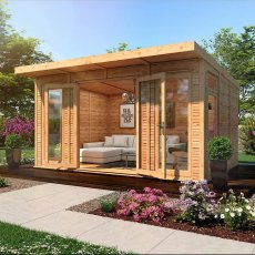 14 x 10 Mercia Insulated Garden Room - Angle View Open View and treated