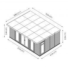 20 x 14 (6.10m x 4.10m) Mercia Insulated Garden Room - Dimension Drawing