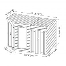 10 x 7 (3.13m x 1.98m) Mercia Corner Summerhouse with Side Storage - Dimension Drawing