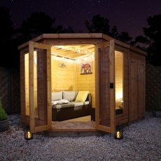 10 x 7 (3.13m x 1.98m) Mercia Corner Summerhouse with Side Storage - Front View with Lighting
