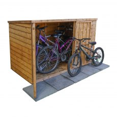 3 x 6 (0.99m x 1.95m) Mercia Overlap Pent Bike Store - isolated with side view and door open