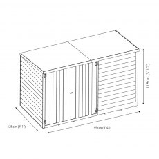 4 x 6 (1.25m x 1.95m) Mercia Overlap Pent Bike Store - diagram