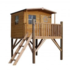 5 x 5 (2.34m x 2.00m) Mercia Rose Playhouse with Tower - Isolated View