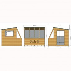 8 x 8 (2.39m x 2.39m) Shire Iceni Potting Shed - Door in Right Hand Side - diagrams