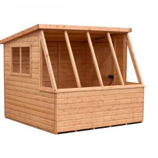 8 x 8 (2.39m x 2.39m) Shire Iceni Potting Shed - Door in Right Hand Side - angle from the right hand