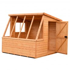 8 x 8 (2.39m x 2.39m) Shire Iceni Potting Shed - Door in Right Hand Side - angle from the left hand