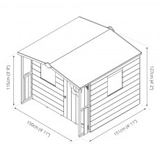5 x 5 (1.47m x 1.51m) Mercia Rose Playhouse - diagram