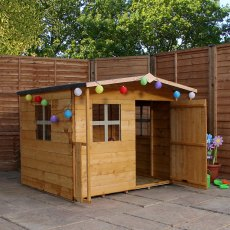 5 x 5 (1.47m x 1.51m) Mercia Rose Playhouse - with door open