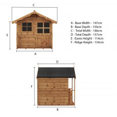 5 x 5 (1.49m x 1.51m) Mercia Poppy Playhouse - floor plan