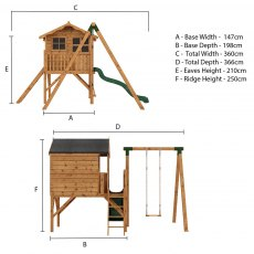 5 x 5 (1.49m x 1.51m) Poppy Tower Playhouse with Activity Centre