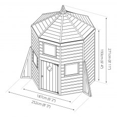 8 x 6 (2.52m x 1.87m) Mercia Rocket Wooden Playhouse - dimensions