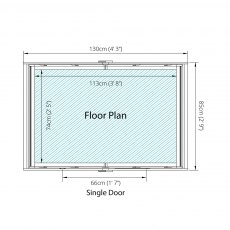 4 x 3 - Mercia Overlap Apex - Windowless - floor plan