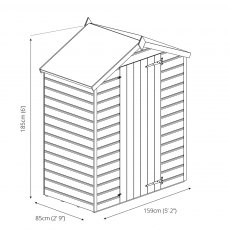 5 x 3 Mercia Overlap Apex Shed - Windowless - diagram