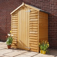 5 x 3 Mercia Overlap Apex Shed - Windowless - angled with door shut