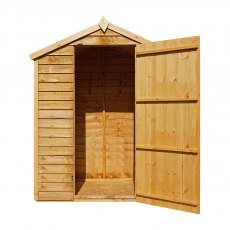 5 x 3 Mercia Overlap Apex Shed - Windowless - front view isolated with door open