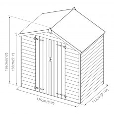 4 x 6 Mercia Overlap Apex Shed - Windowless - diagram