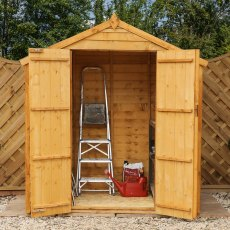 4 x 6 Mercia Overlap Apex Shed - Windowless - with doors open