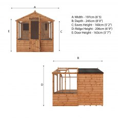 8 x 6 (2.44m x 1.86m) Mercia Greenhouse and Shed Combi - Dimensions