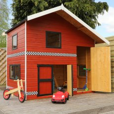 8 x 7 (2.66m x 2.24m) Mercia Double Storey Garage Playhouse - painted with doors open
