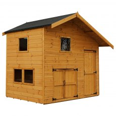 8 x 7 (2.66m x 2.24m) Mercia Double Storey Garage Playhouse - unpainted angled feature with doors cl