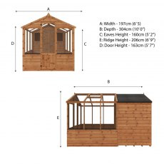 10 x 6 (3.03m x 1.86m) Mercia Greenhouse and Shed Combi - Dimensions