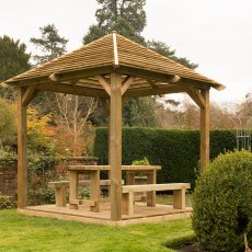 10 x 10 (2.93m x 2.93m) Forest Venetian Pavilion with Decking -  Pressure Treated