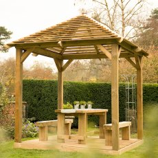 10x10 Forest Venetian Pavilion without Decking -  Pressure Treated  - angled view