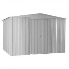 10 x 8 (2.95m x 2.37m) Lotus Apex Metal Shed in Aluminium White