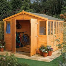 9 x 6 Rowlinson Workshop Apex Garden Shed - Insitu and angled