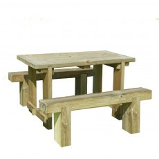 1.2m Forest Refectory Table and Sleeper Bench Set