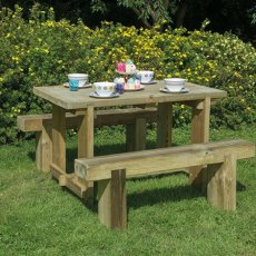 4' Forest Refectory Table and Sleeper Bench Set