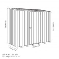 7 x 3 Absco Space Saver Pent Metal Shed - Dimensions