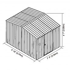 10 x 7 Mercia Absco Premier Metal Shed in Titanium - Dimensions