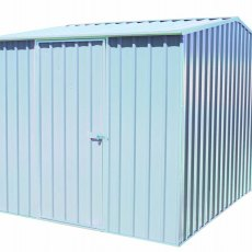 10 x 7 Mercia Absco Premier Metal Shed in Titanium - angled view
