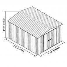 10 x 12 Mercia Absco Regent Metal Shed in Titanium - Dimensions