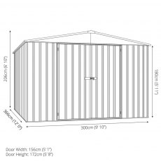 10 x 12 Mercia Absco Regent Metal Shed in Pale Eucalyptus - Dimensions