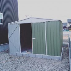 10 x 12 Mercia Absco Regent Metal Shed in Pale Eucalyptus - in situ