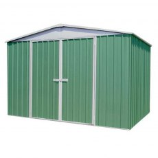 10 x 12 Mercia Absco Regent Metal Shed in Pale Eucalyptus - angled view