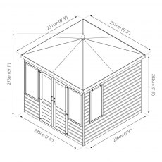 8 x 8 Mercia Clover Summerhouse - Dimensions